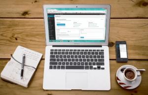 customizing a WordPress website on a laptop