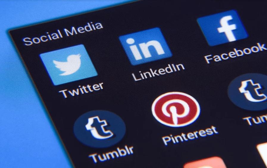 social media brand names, logos of social media, Facebook. Twitter, Tumblr, LinkedIn, Pinterest
