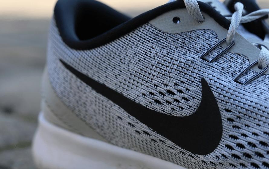 Nike logo, Nike shoe, grey shoe